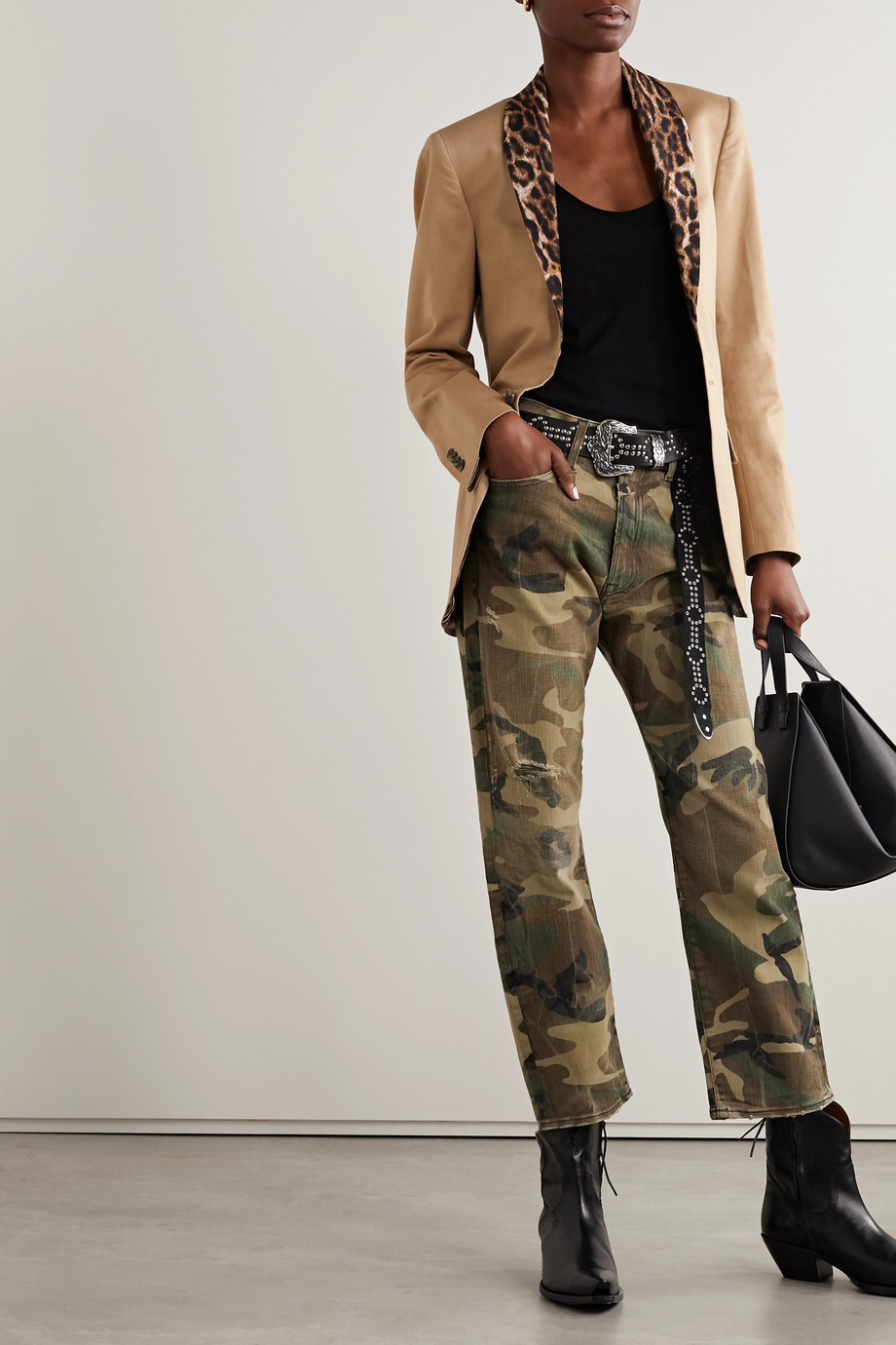 R13 Distressed camouflage-print mid-rise straight-leg jeans