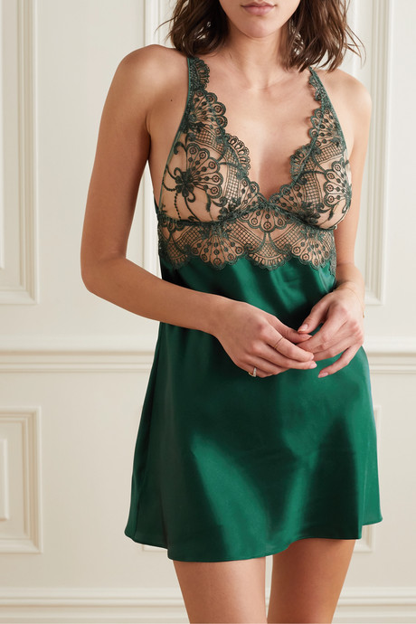 Embroidered tulle and silk-blend satin chemise