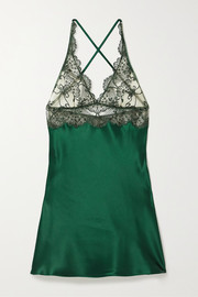 I.D. Sarrieri Embroidered tulle and silk-blend satin chemise