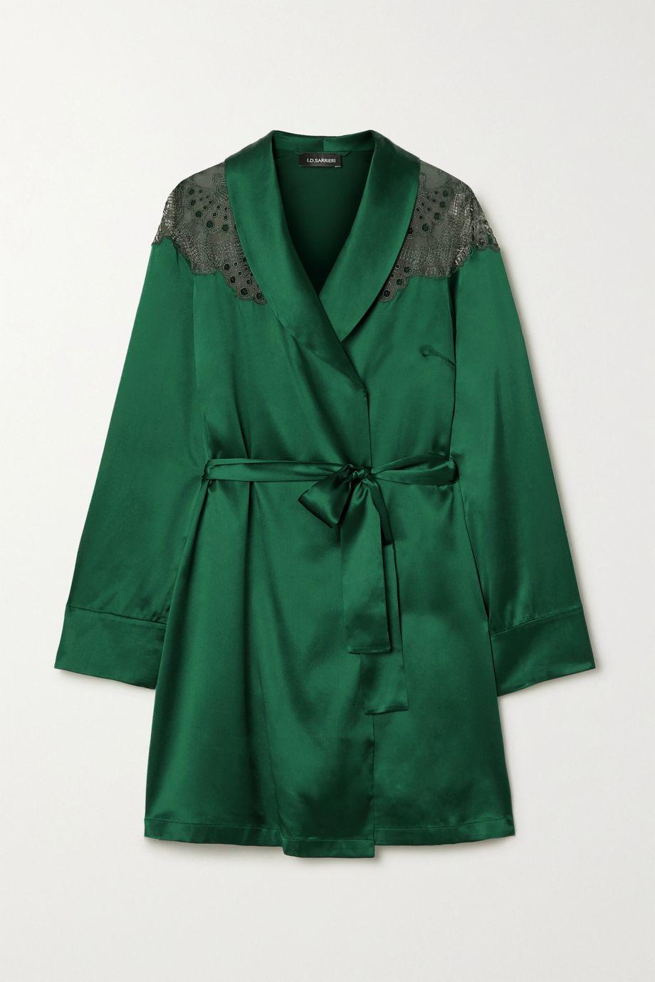 I.D. Sarrieri Embroidered tulle-trimmed silk-blend satin robe