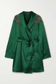 I.D. Sarrieri Embroidered tulle-trimmed silk-blend satin robe