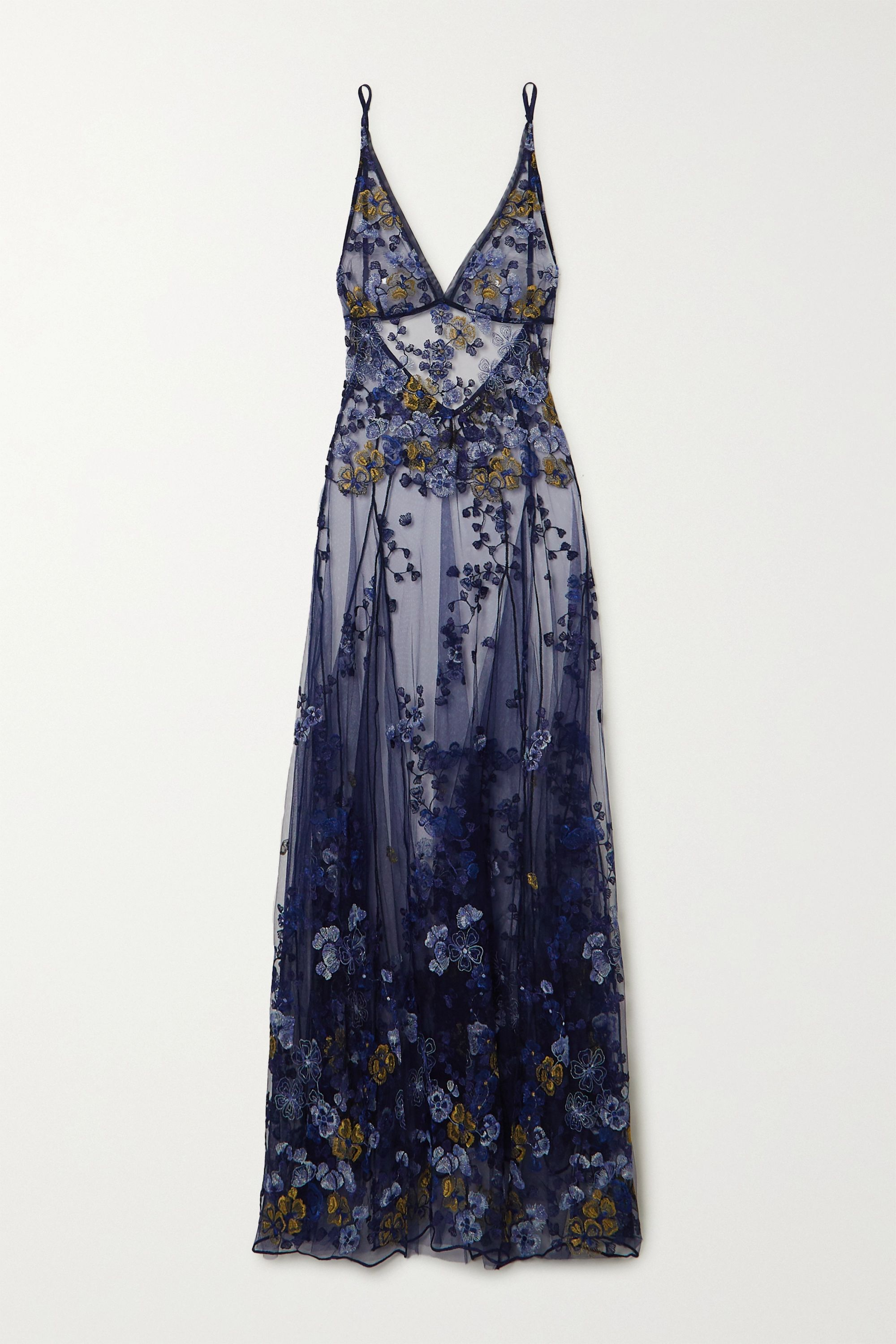 I.D. Sarrieri Embroidered satin-trimmed tulle maxi dress