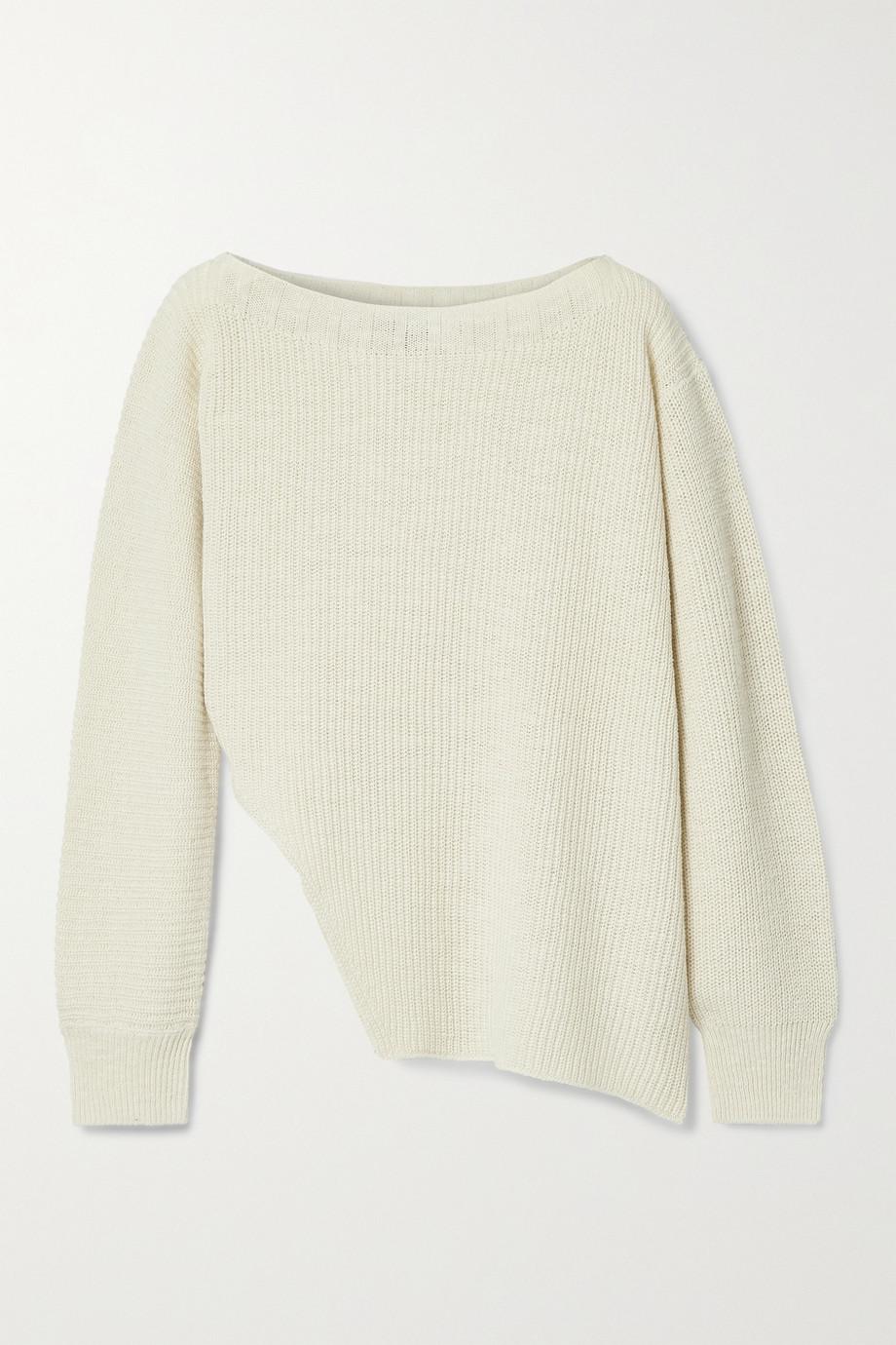 James Perse Asymmetrischer Pullover aus einer gerippten Baumwoll-Leinenmischung