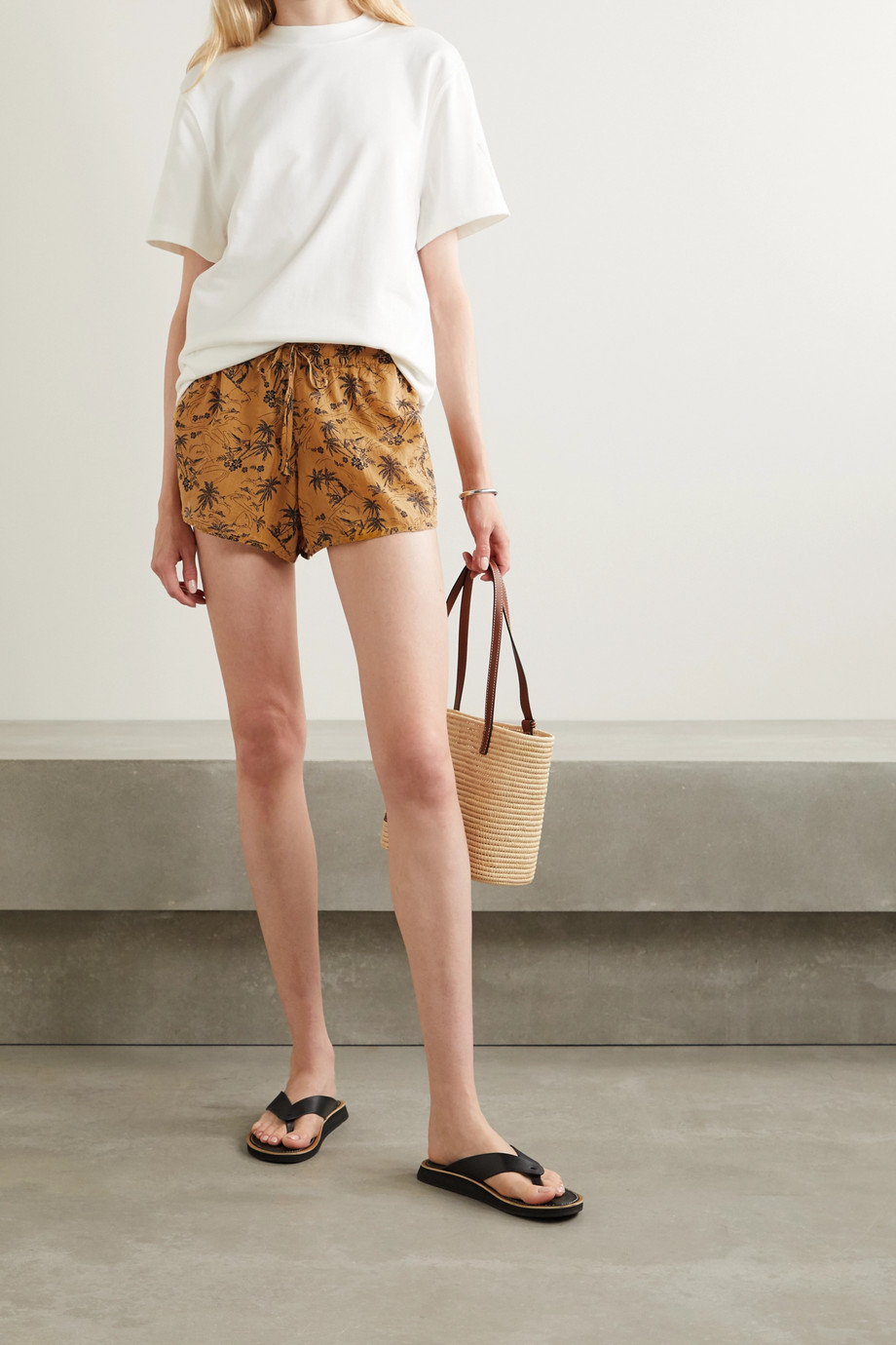 James Perse Printed voile shorts