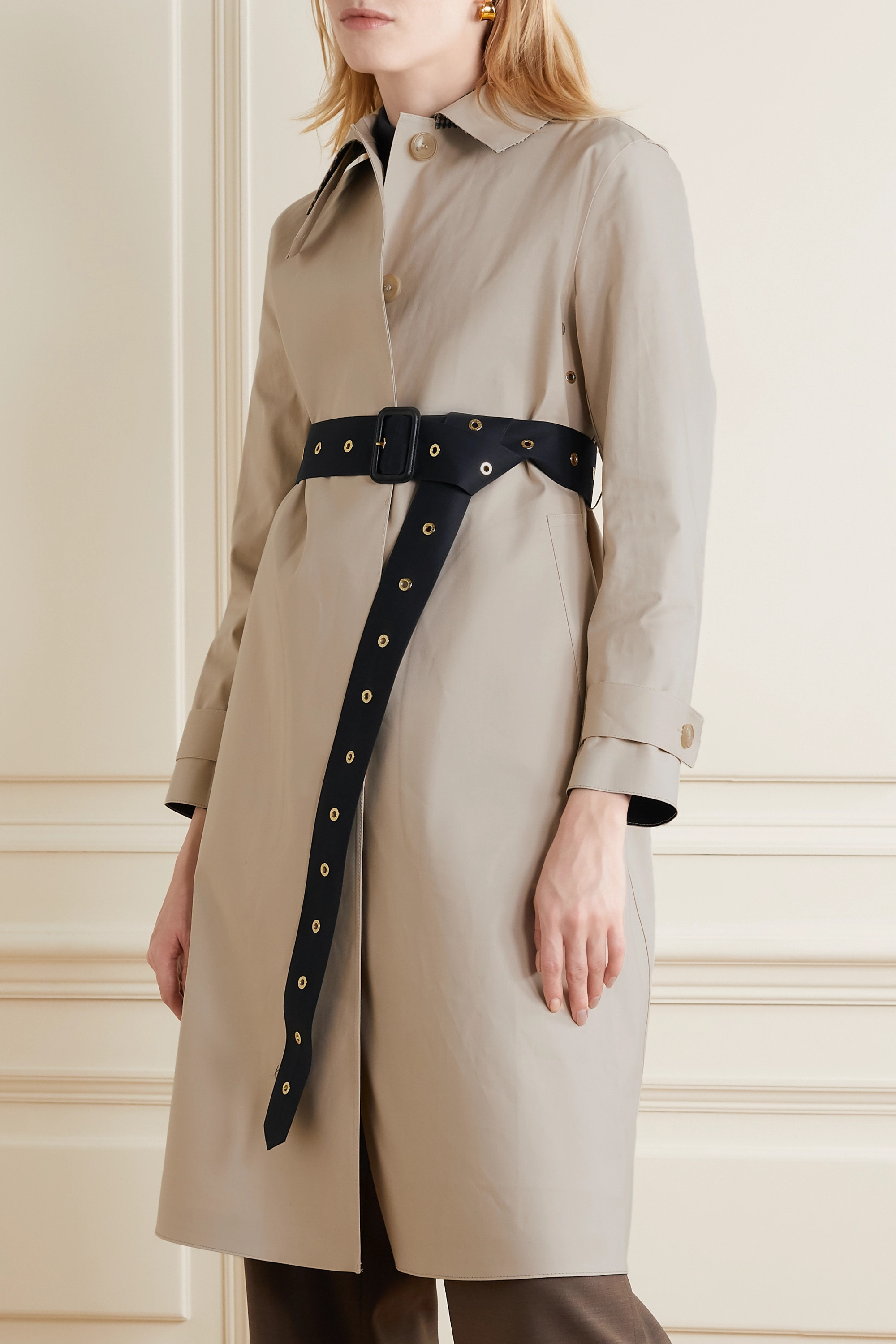 Mackintosh Roslin belted bonded cotton trench coat