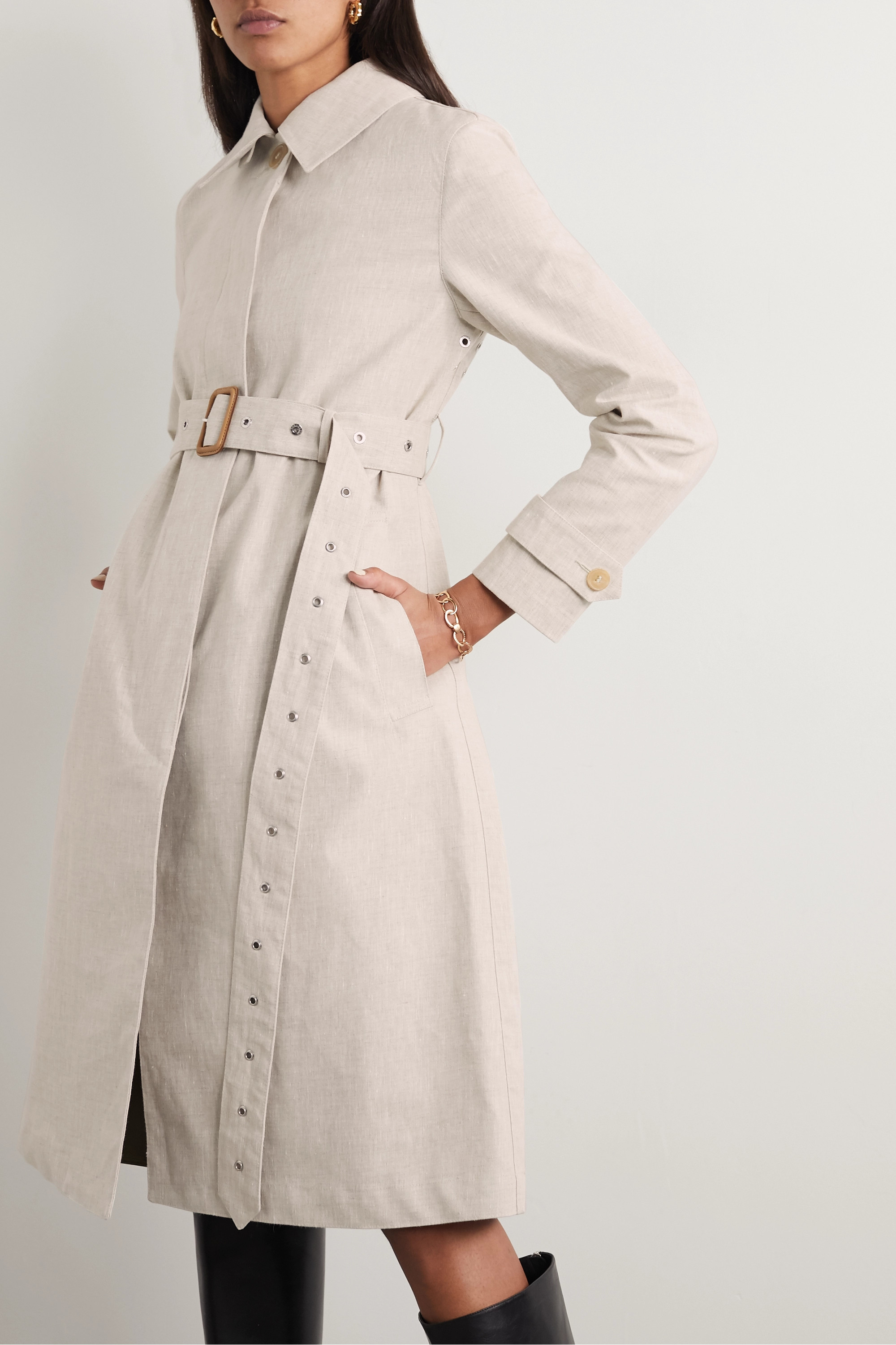Mackintosh Roslin belted bonded linen and cotton trench coat