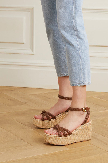 80 braided leather wedge sandals
