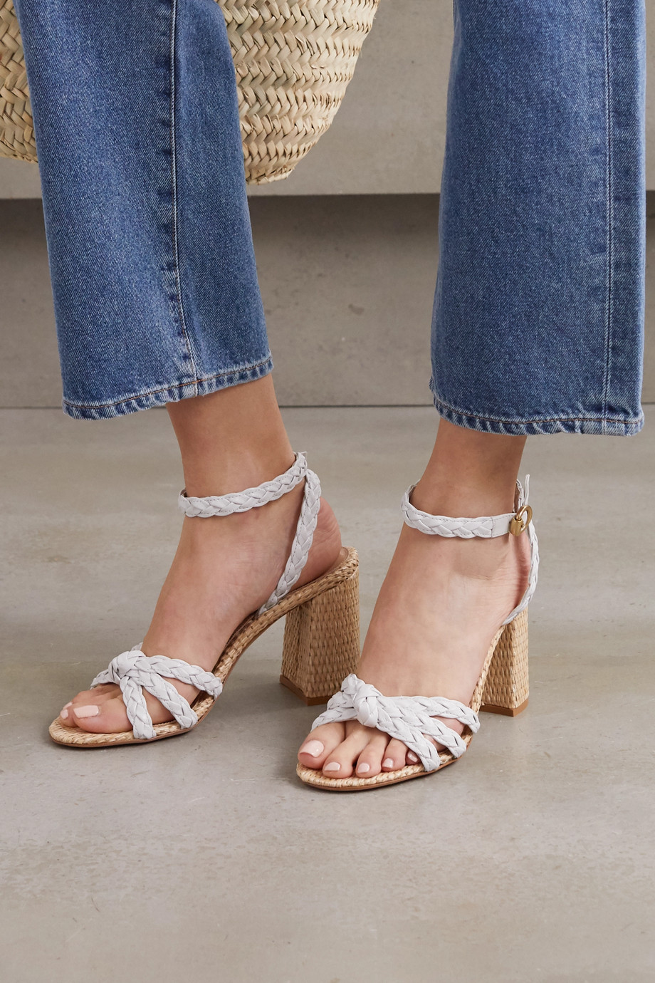 Gianvito Rossi 85 woven leather and raffia sandals