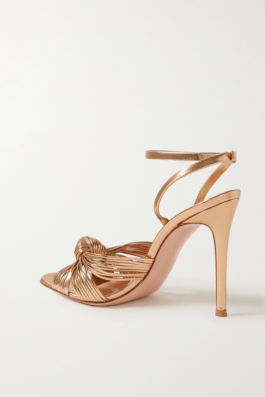 Gianvito Rossi Portia 105 knotted metallic leather sandals