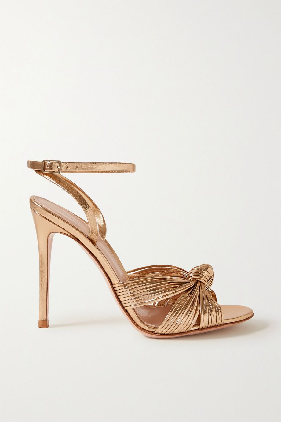 Gianvito Rossi Portia 105 knotted metallic leather sandals