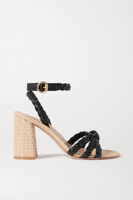 Black 85 woven leather and raffia sandals | Gianvito Rossi dY1t1q