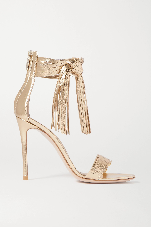 Gianvito Rossi 105 fringed metallic leather sandals
