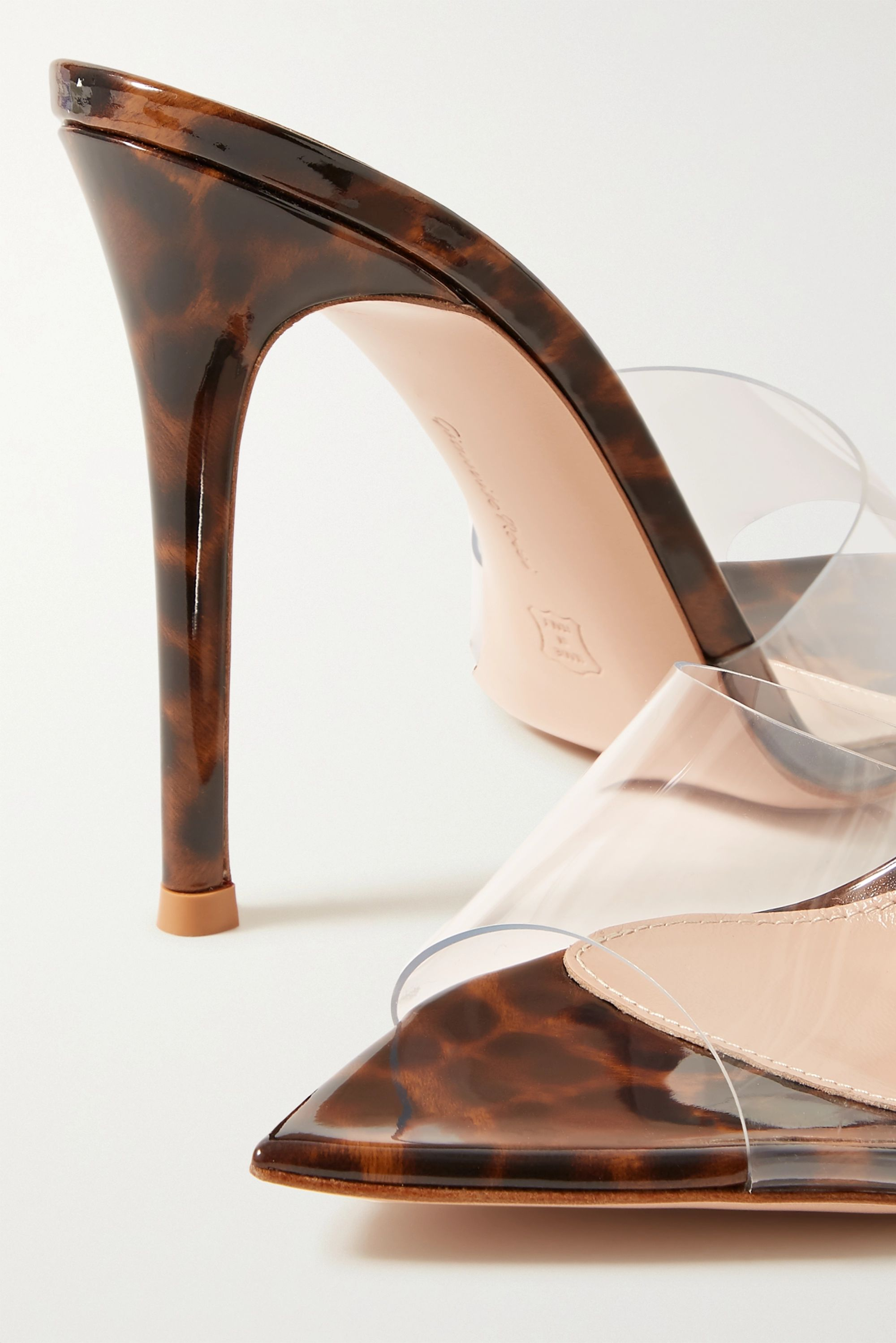 Gianvito Rossi 105 PVC and leopard-print patent-leather mules