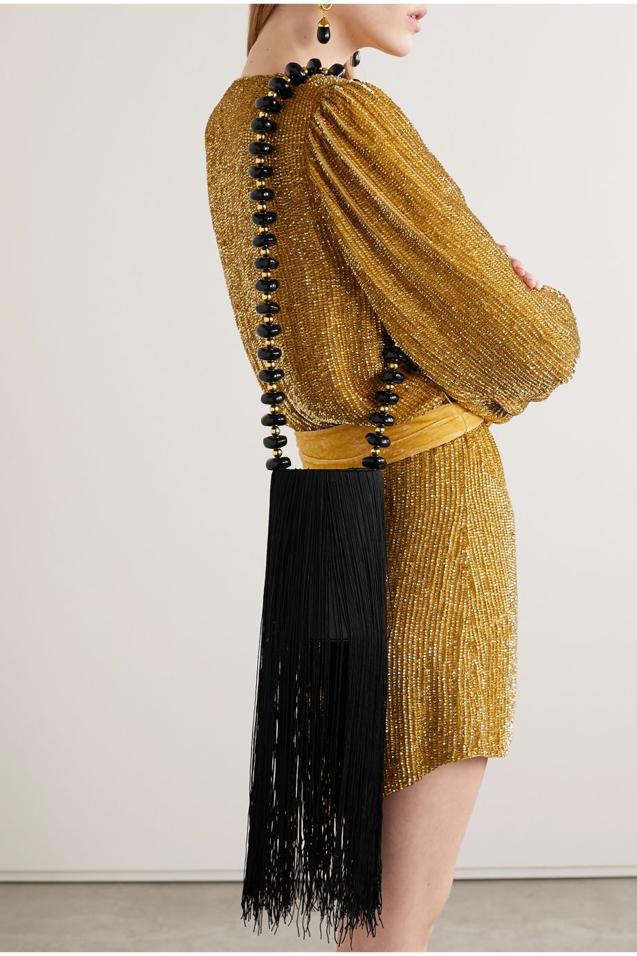 Vanina Weeping Soil fringed satin shoulder bag