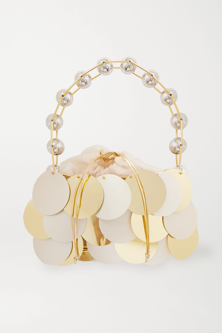Vanina Boutons D'Or paillette-embellished gold-plated tulle tote