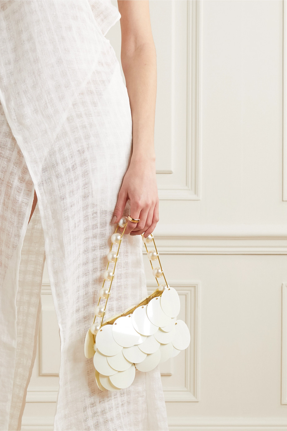 Vanina Boutons D'Or embellished gold-tone and tulle shoulder bag
