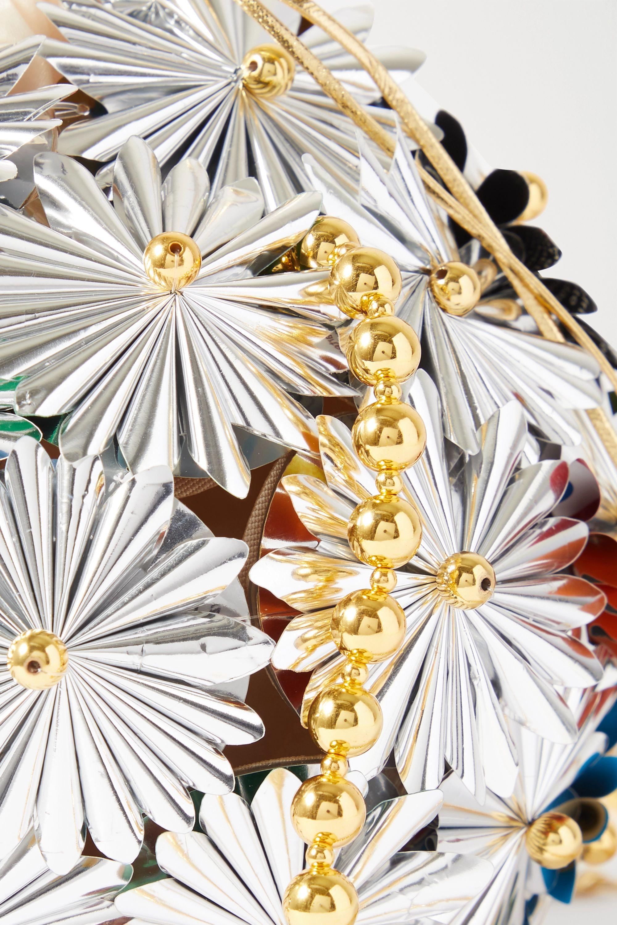 Vanina Inflorescence embellished silver-tone and gold-plated shoulder bag