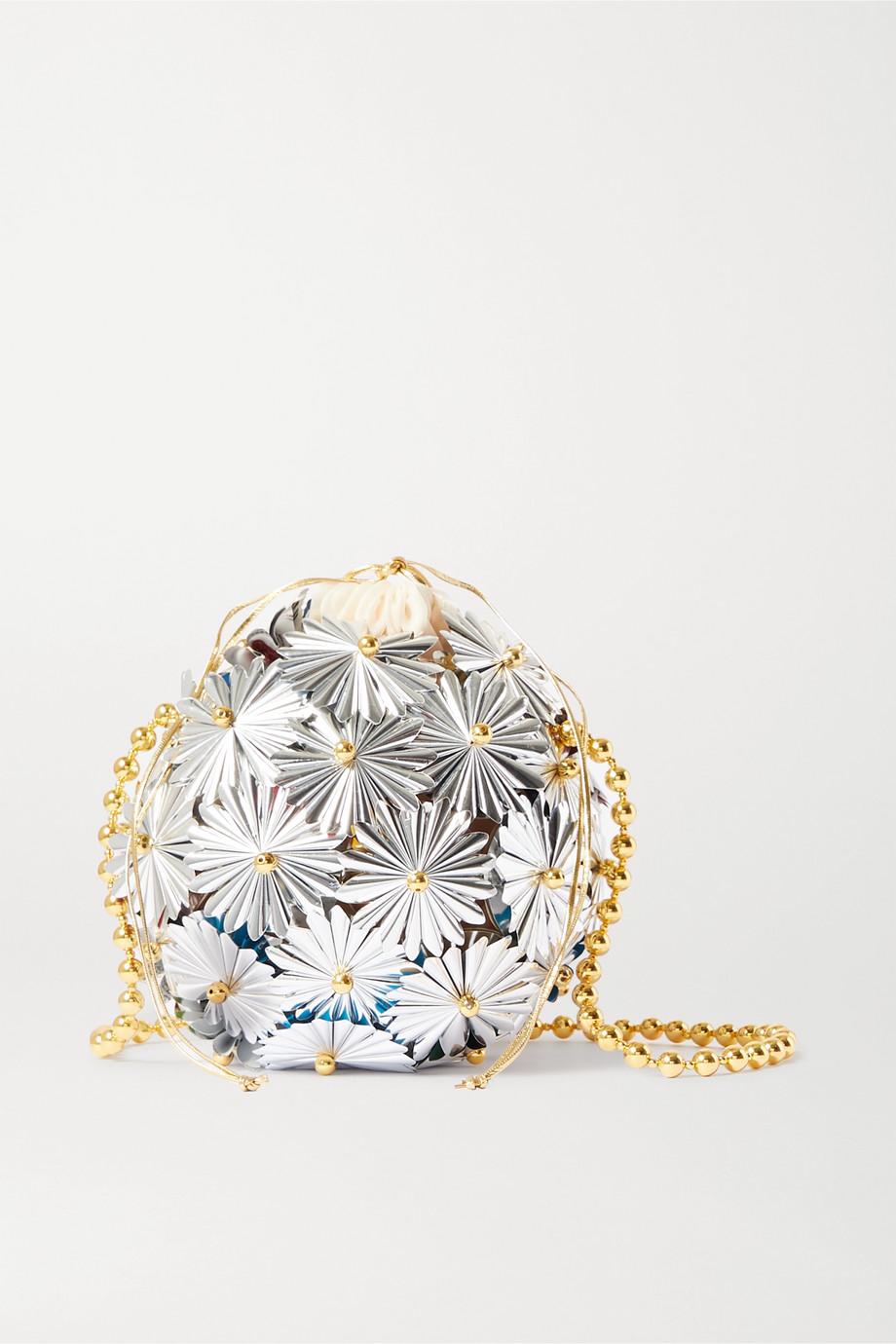 Vanina Inflorescence embellished silver-tone and gold-plated shoulder bag