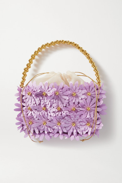 Vanina - Inflorescence Embellished Satin And Acrylic Tote - Lilac