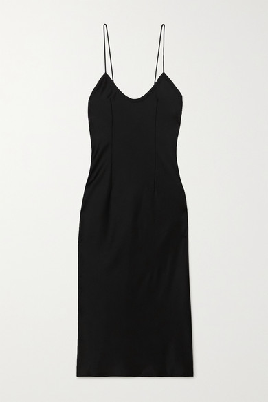 Saint Laurent Bias-cut Satin Slip Dress In Black
