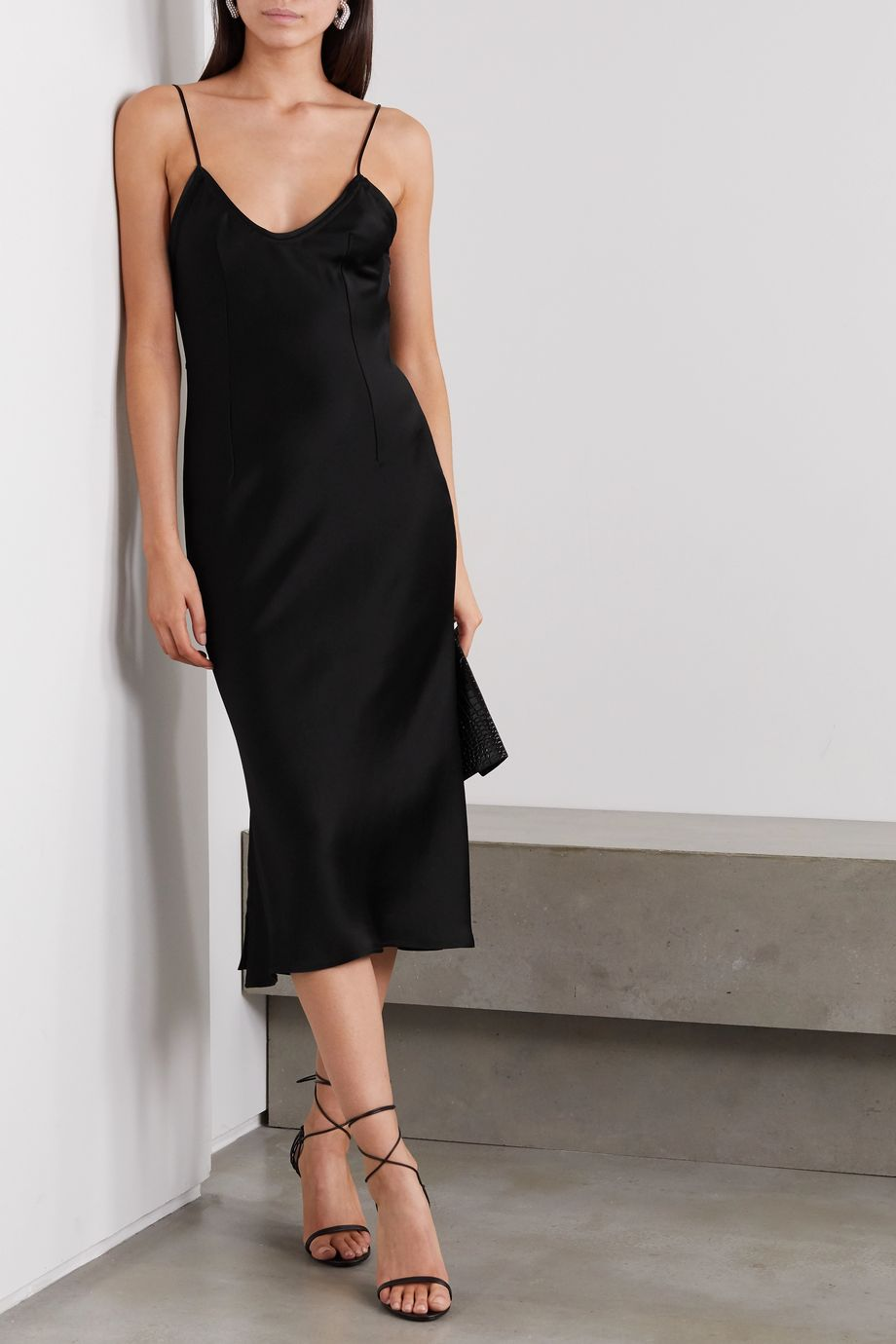 SAINT LAURENT Satin midi dress