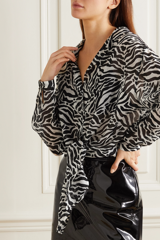 SAINT LAURENT Bluse aus Gaze mit Zebraprint zum Binden