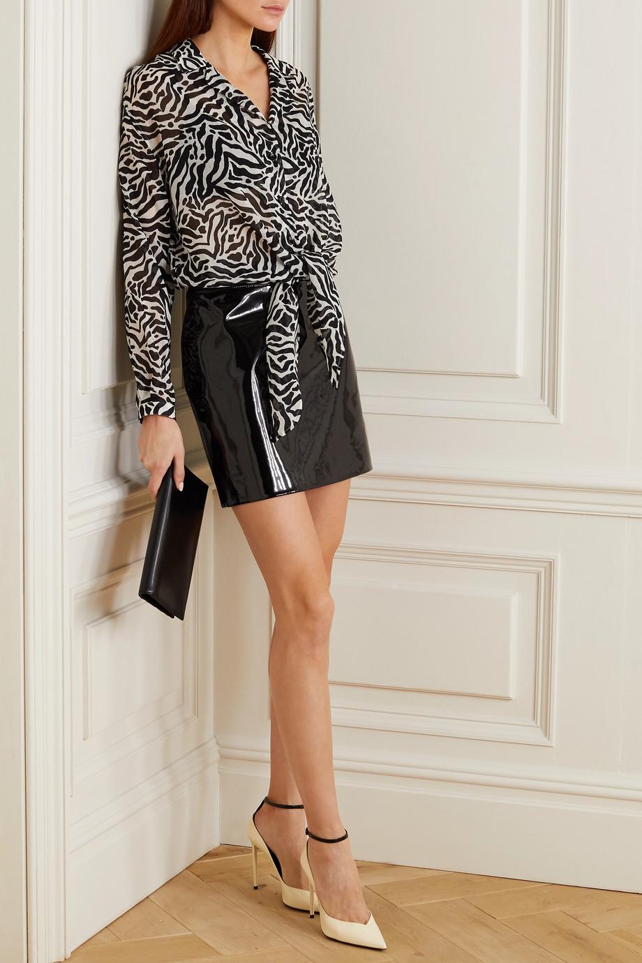 SAINT LAURENT Tie-front zebra-print gauze blouse