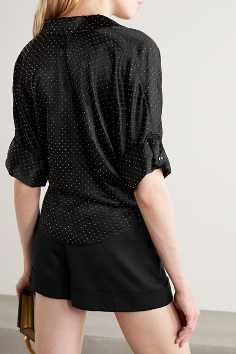 Black Tie-front studded silk-satin blouse | SAINT LAURENT JsUPrg