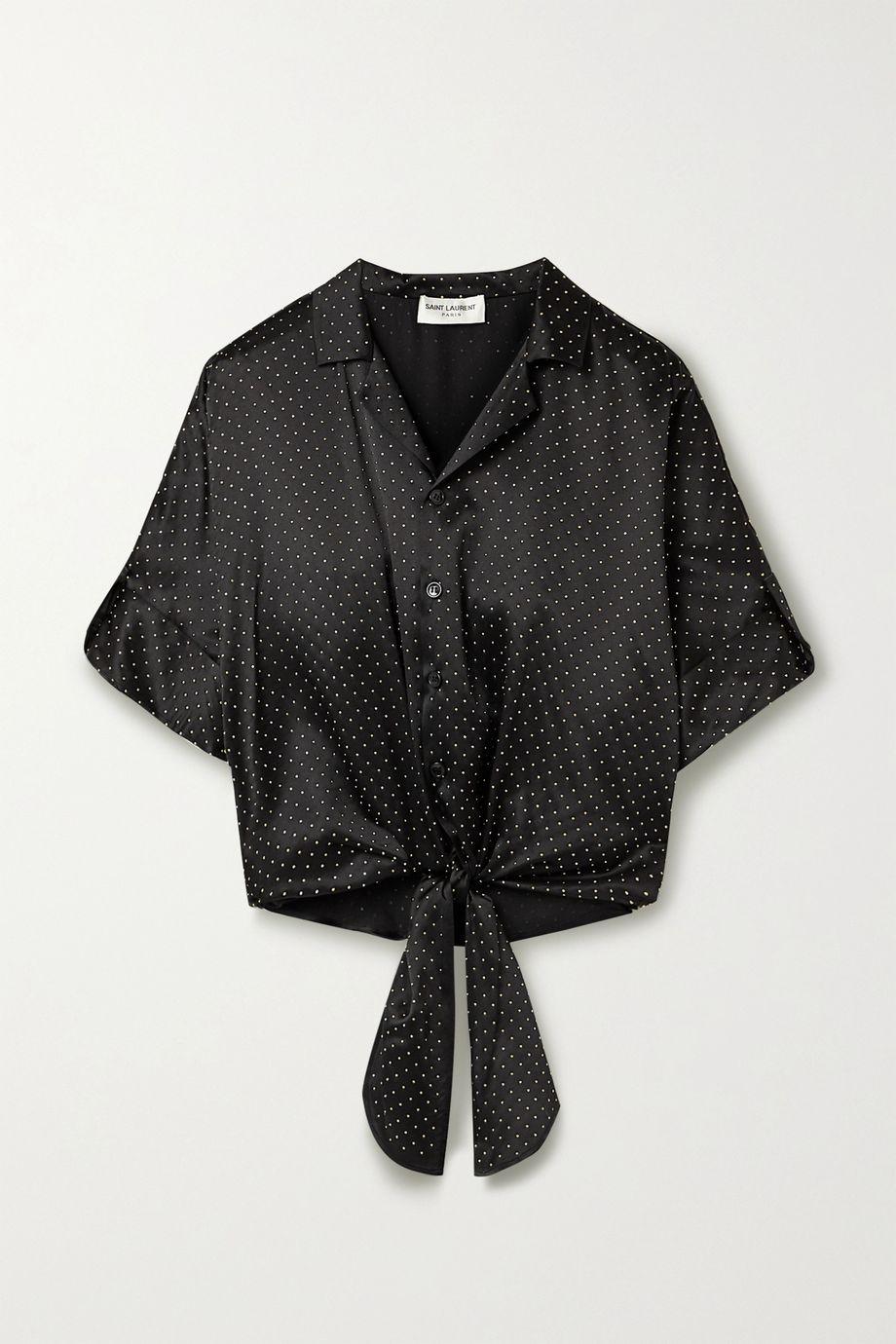 SAINT LAURENT Tie-front studded silk-satin blouse