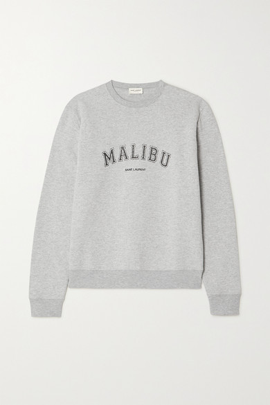 Malibu Printed Cotton Blend Jersey Sweater by Saint Laurent