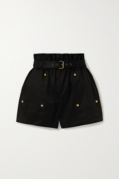 Belted Cotton And Ramie Blend Twill Shorts by Saint Laurent