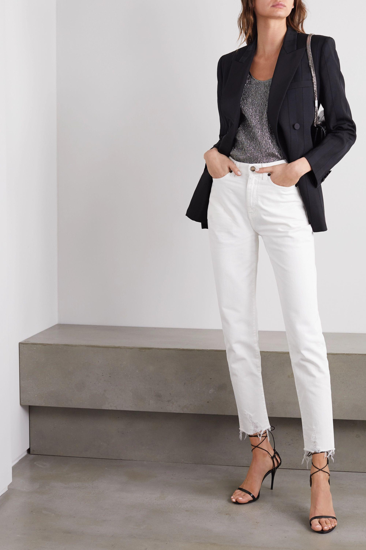 SAINT LAURENT Distressed high-rise straight-leg jeans