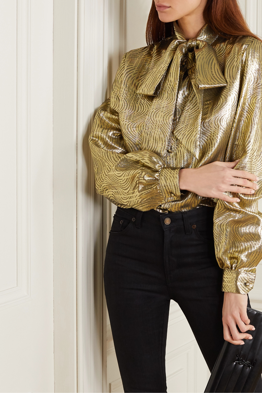 SAINT LAURENT Pussy-bow silk-blend lamé blouse