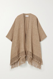 Fringed alpaca and Pima cotton-blend wrap