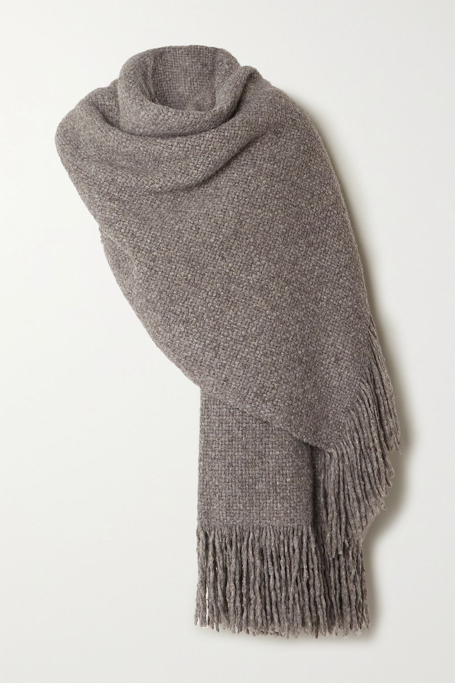Lauren Manoogian Oversized fringed mélange alpaca, wool and cotton-blend wrap