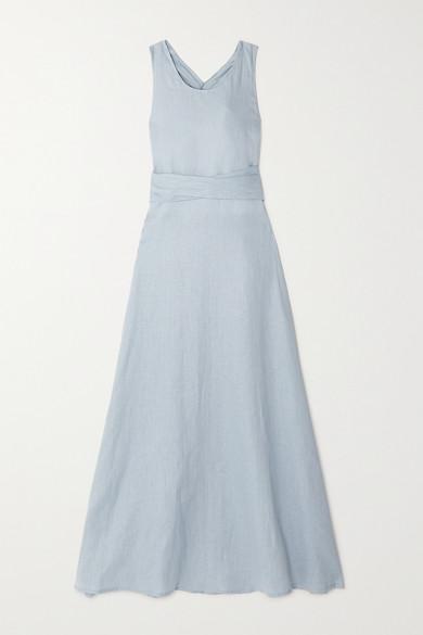 Lima Open Back Linen Maxi Dress by Albus Lumen