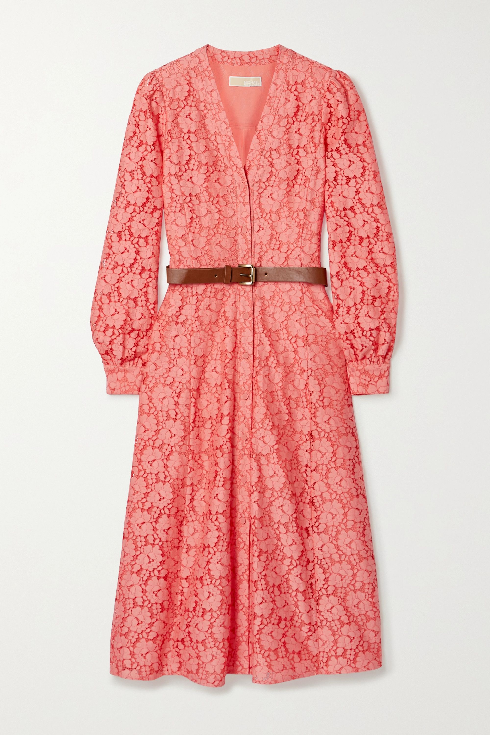 Peach Belted Cotton Blend Corded Lace