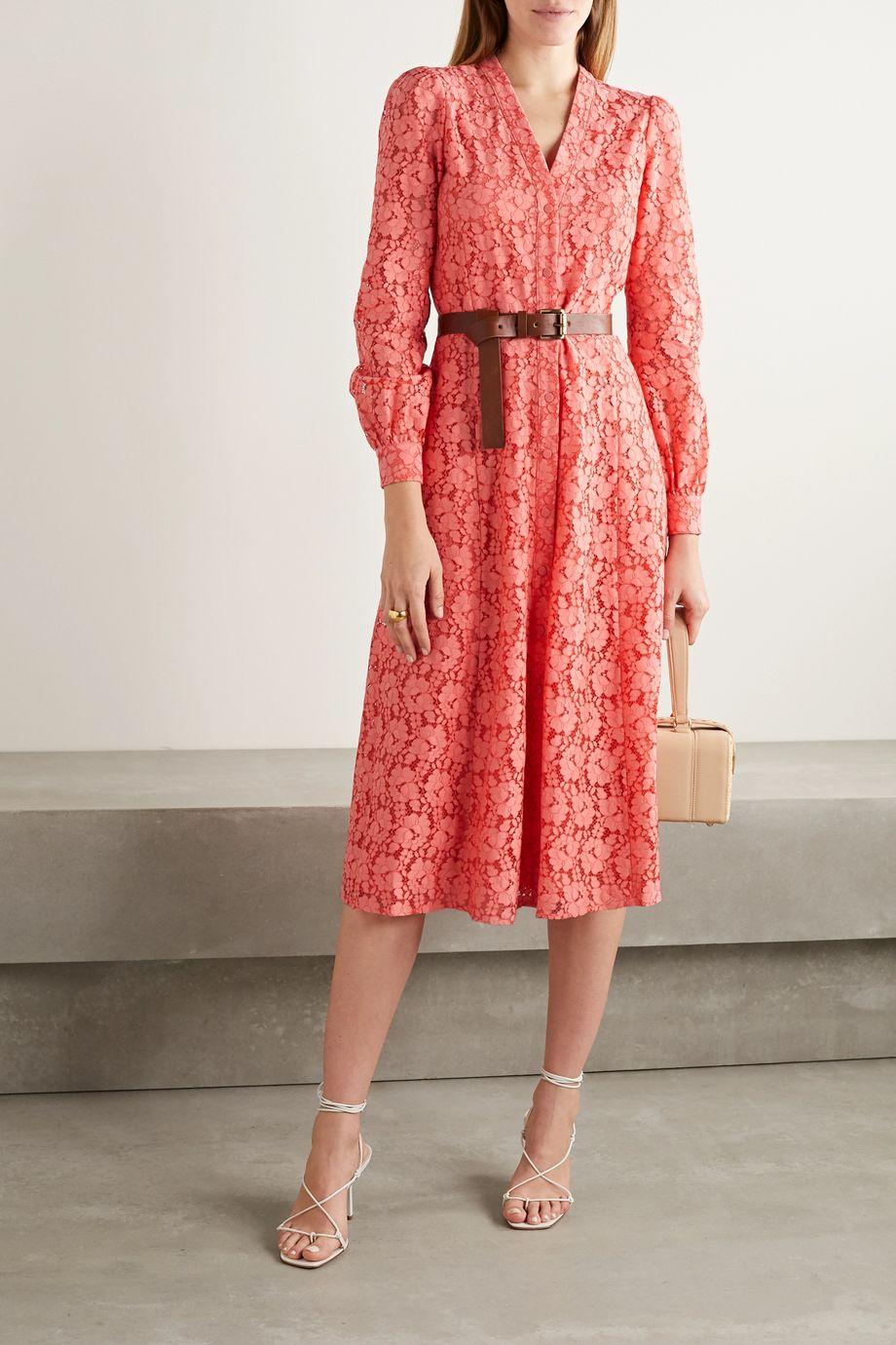 MICHAEL Michael Kors Belted cotton-blend corded lace midi shirt dress