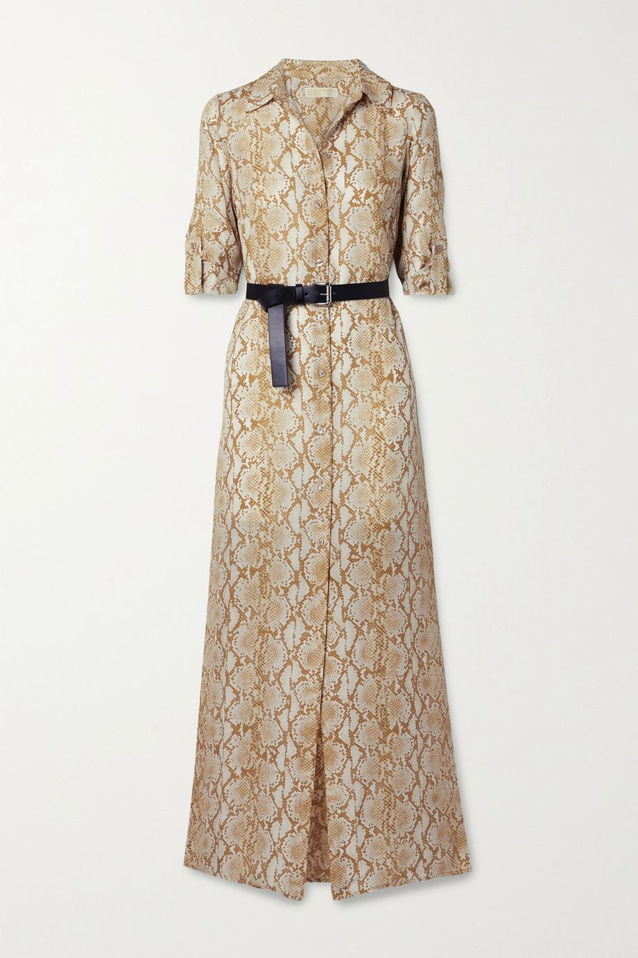 MICHAEL Michael Kors 配腰带蛇纹真丝绉纱超长衬衫式连衣裙