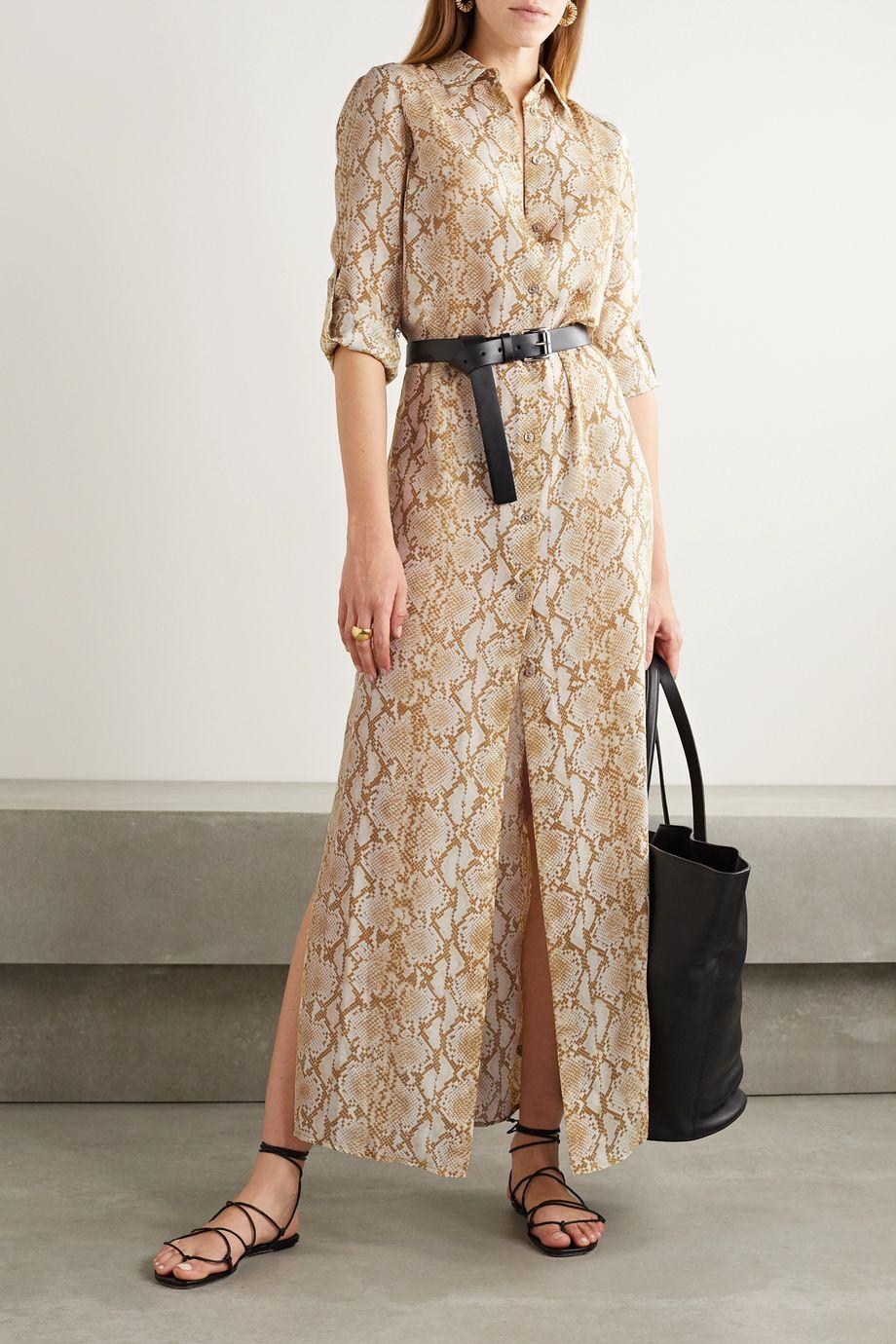 MICHAEL Michael Kors Belted snake-print silk-crepe maxi shirt dress