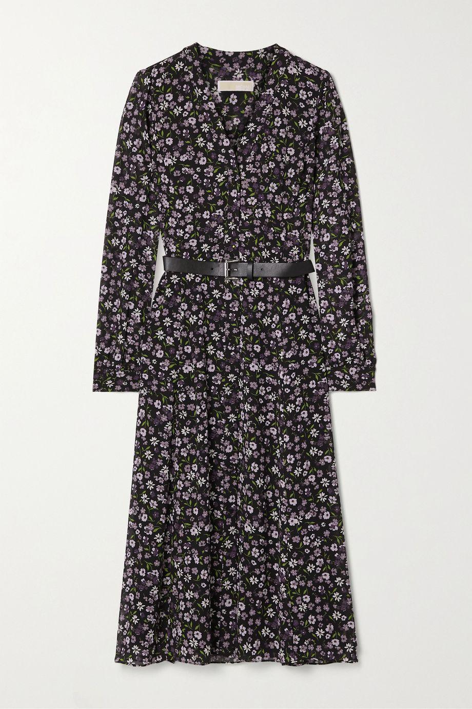MICHAEL Michael Kors Belted floral-print georgette midi dress