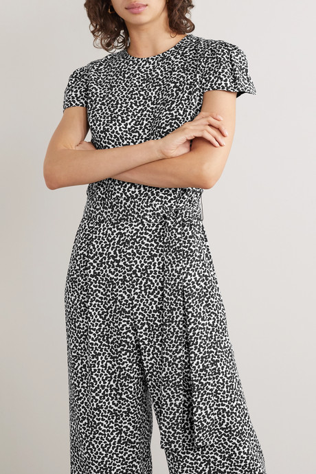 Belted printed twill jumpsuit