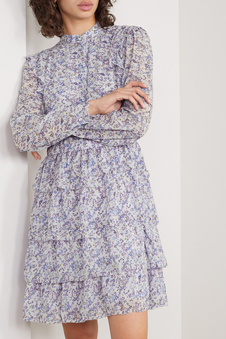 Tiered printed chiffon mini dress