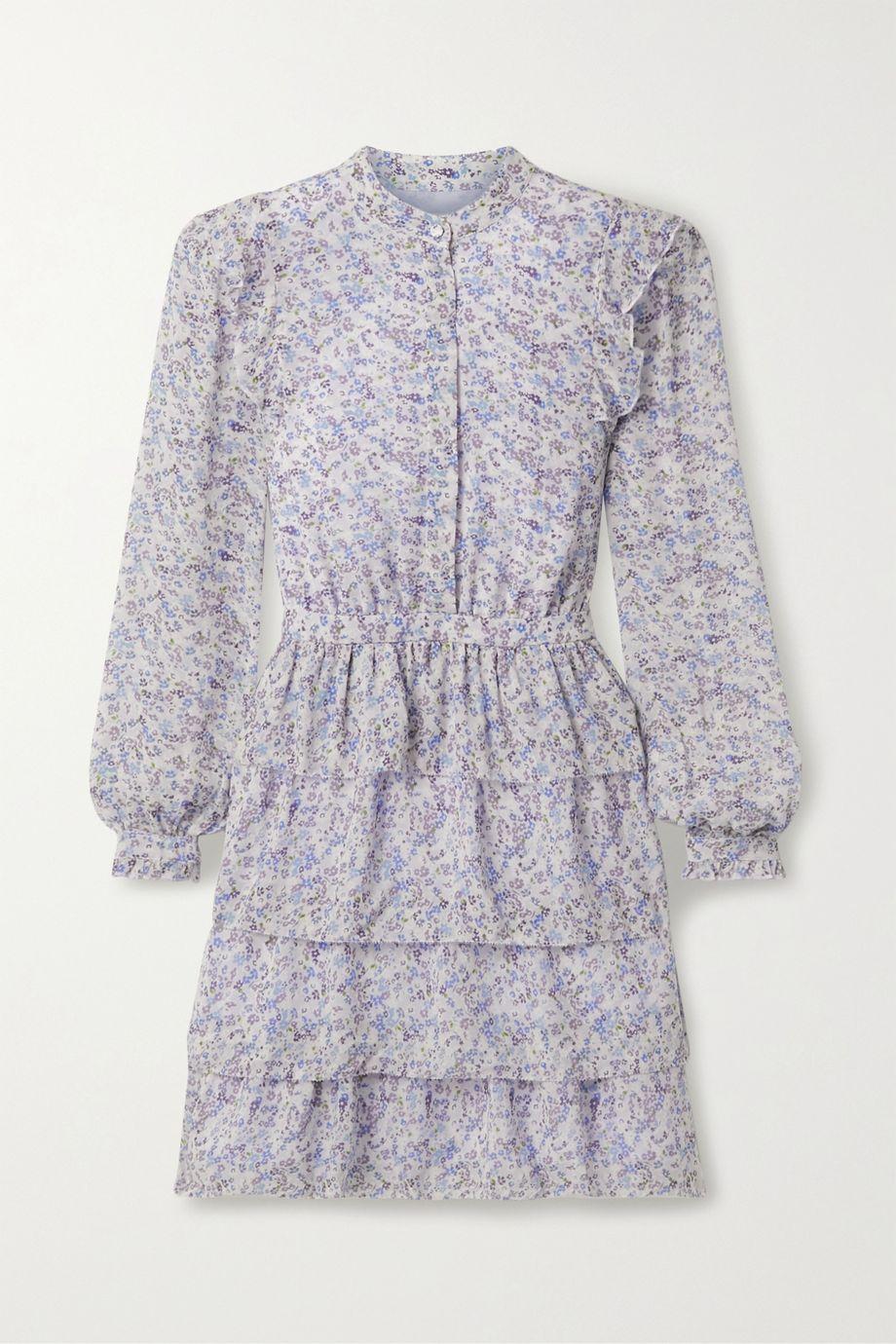 마이클 마이클 코어스 쉬폰 미니 원피스 Michael Michael Kors Tiered printed chiffon mini dress,Lilac