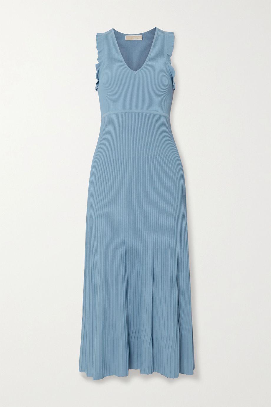 마이클 마이클 코어스 미디 원피스 Michael Michael Kors Ruffle-trimmed ribbed-knit midi dress,Blue