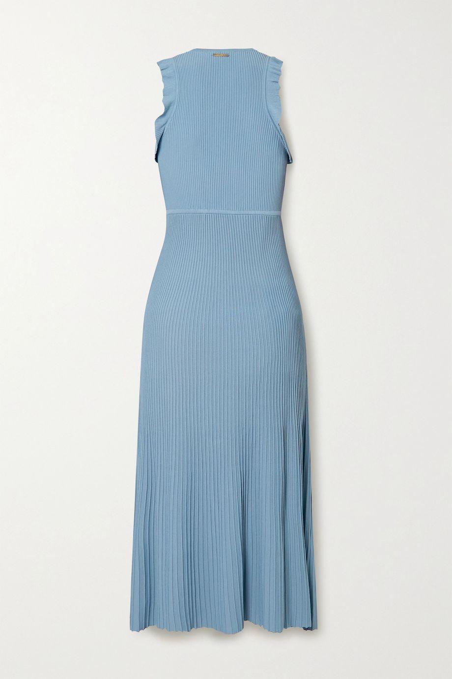 MICHAEL Michael Kors Ruffle-trimmed ribbed-knit midi dress