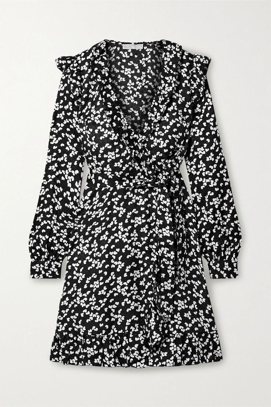 MICHAEL Michael Kors Ruffled printed silk-blend satin-jacquard wrap dress