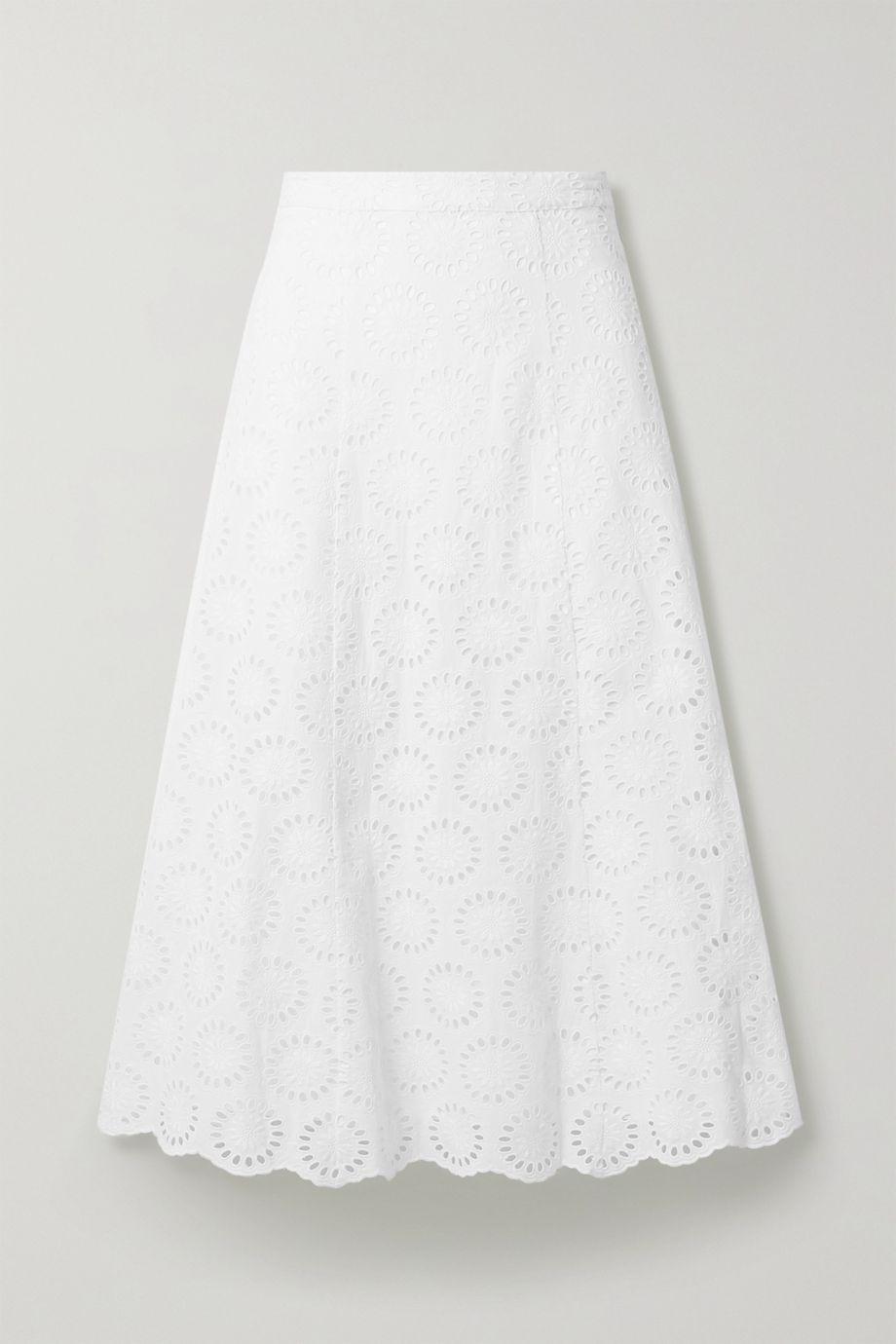 MICHAEL Michael Kors Broderie anglaise cotton-voile midi skirt