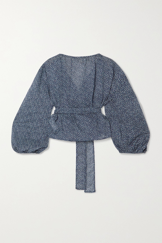 MICHAEL Michael Kors Floral-print cotton-voile wrap blouse