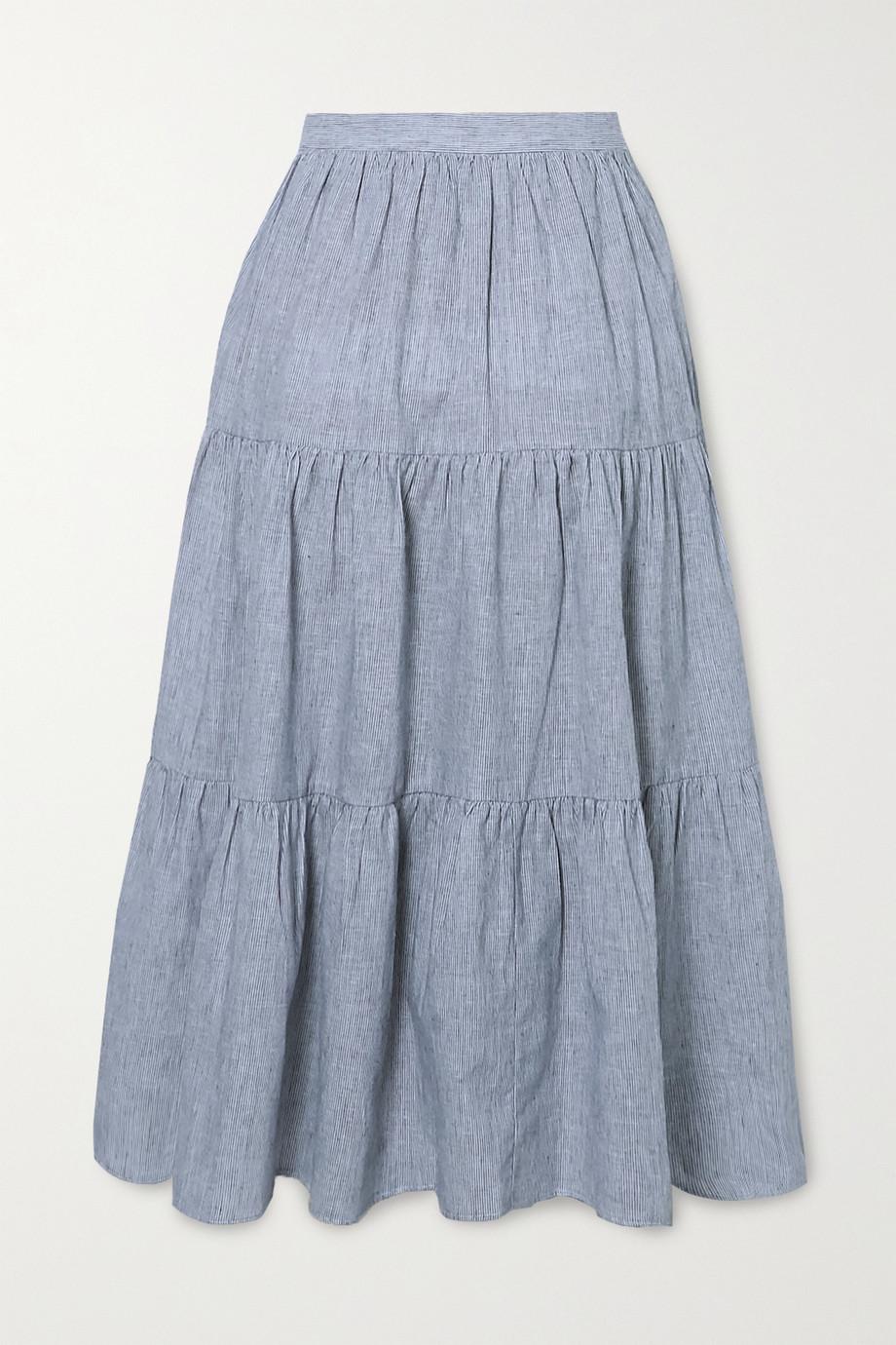 MICHAEL Michael Kors Tiered striped linen and cotton-blend midi skirt